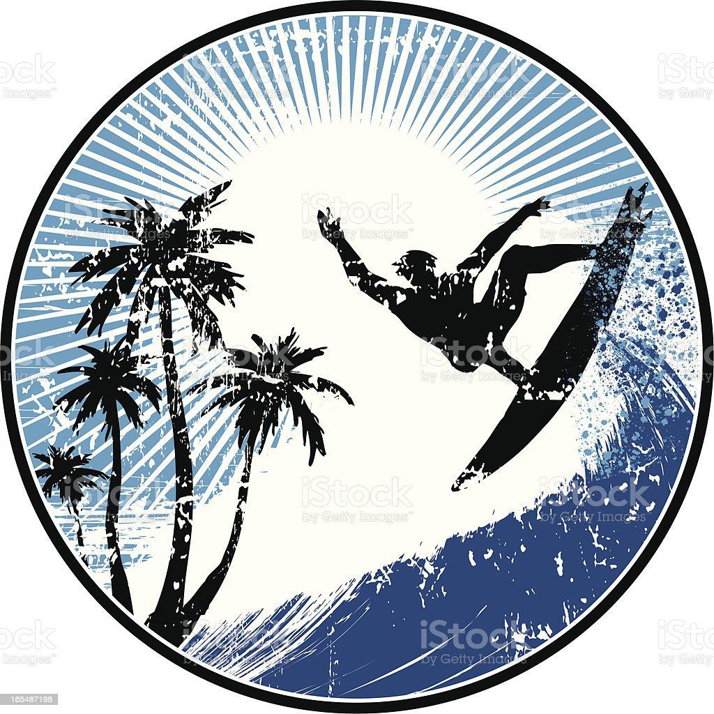 Surf medallion vector art illustration