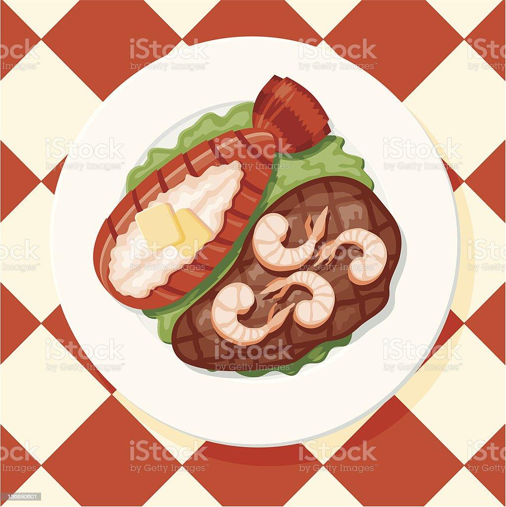 Surf n' Turf: Lobster, Shrimp and a Steak vector art illustration