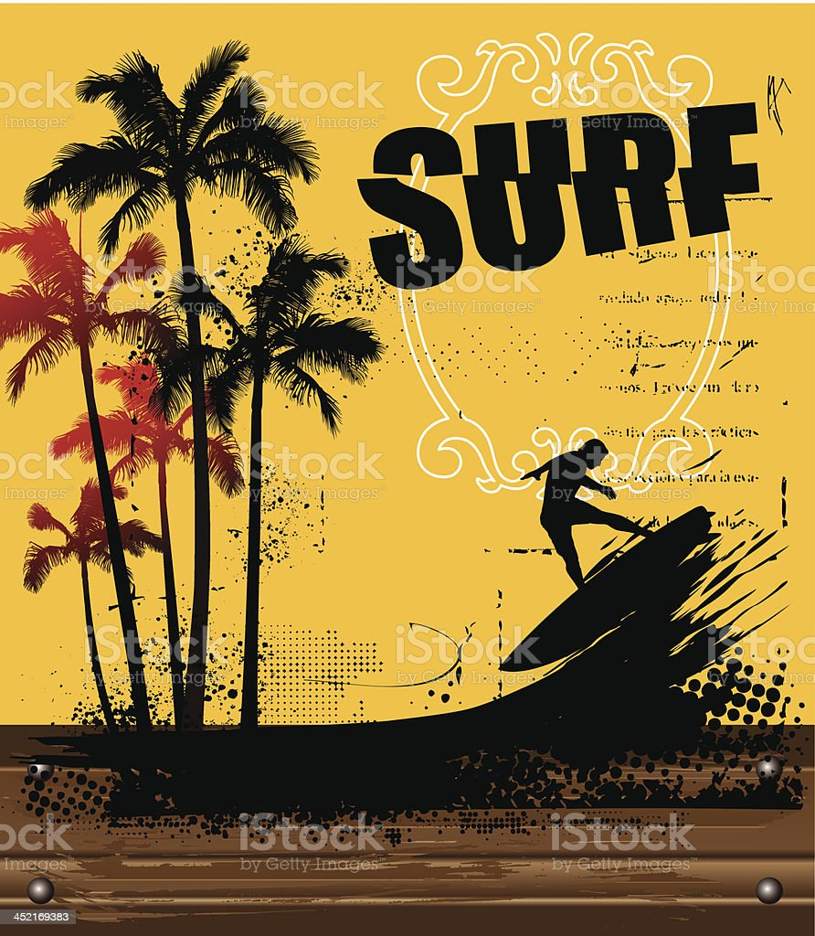 surf poster with wood banner royalty-free stock vector art