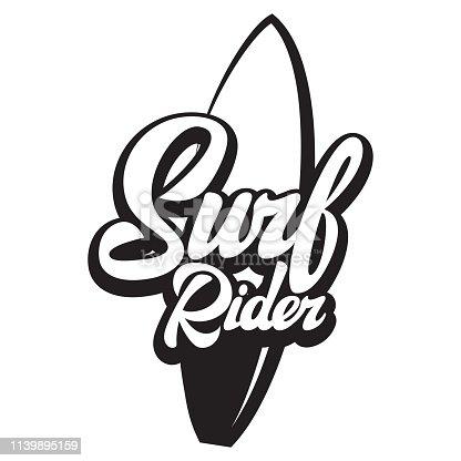 Surf rider lettering poster. Surfing related t-shirt design. Vector vintage illustration.