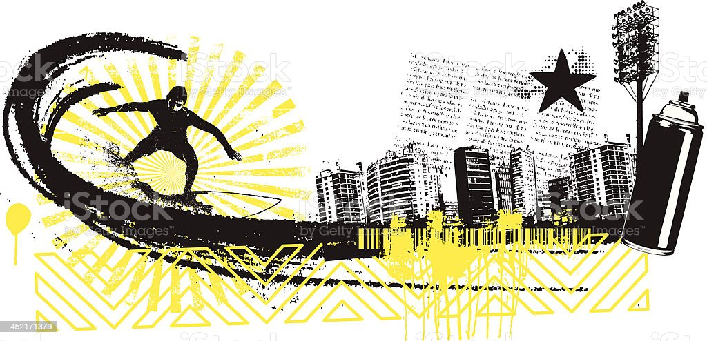 surf rider with panoramic view of grunge city royalty-free stock vector art