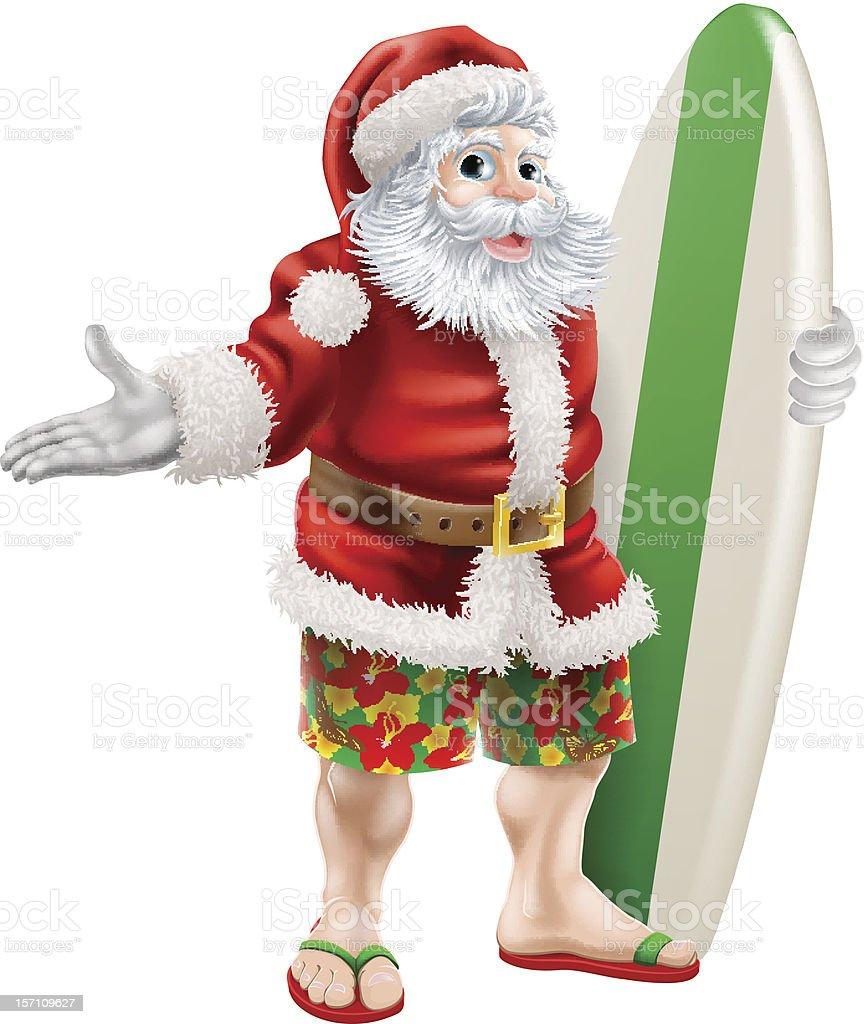 Surf Santa royalty-free stock vector art