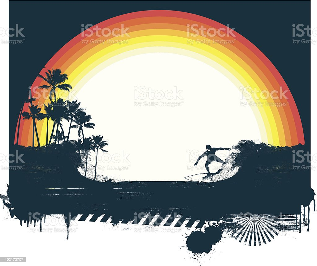 surf scene with beauty rainbow royalty-free stock vector art