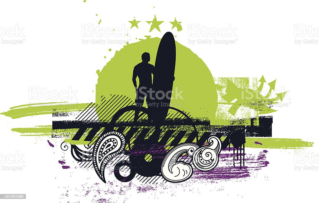 surf scene with rider and grunge background royalty-free stock vector art