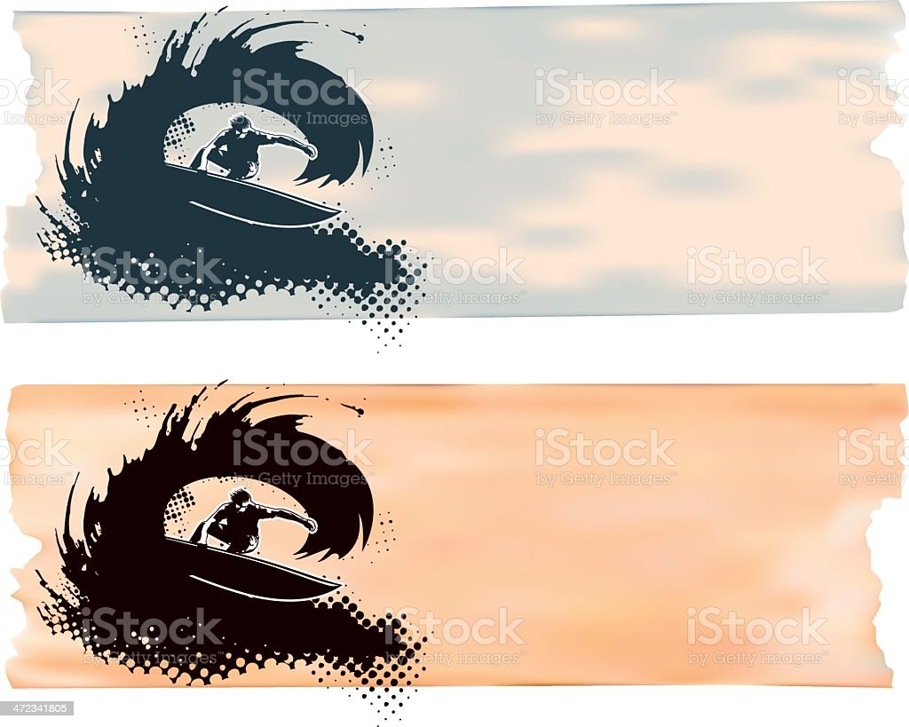 surf scene with rider in tube and paper background royalty-free stock vector art
