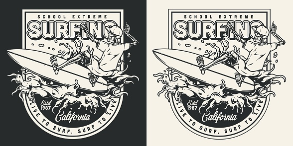Surf school emblemtype with skeleton surfer in baseball cap shorts and shirt riding wave in vintage monochrome style isolated vector illustration