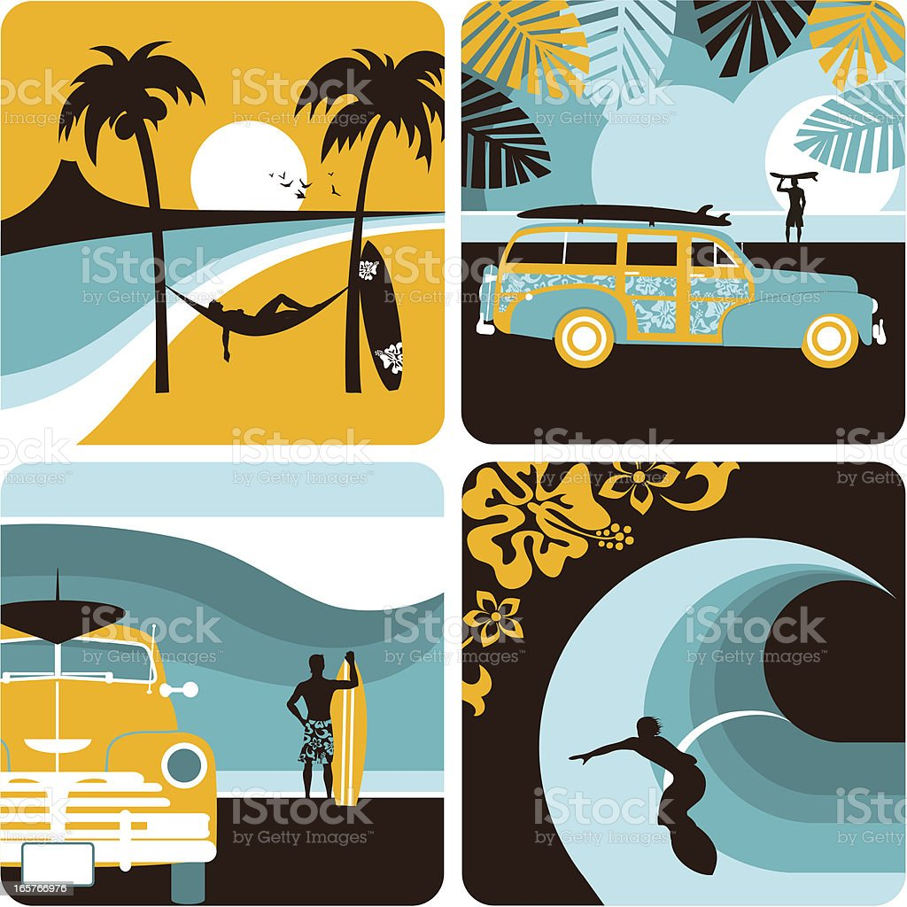 Surf set. Surfer, surfboard, summer, beach, sea, sport, myillo vector art illustration