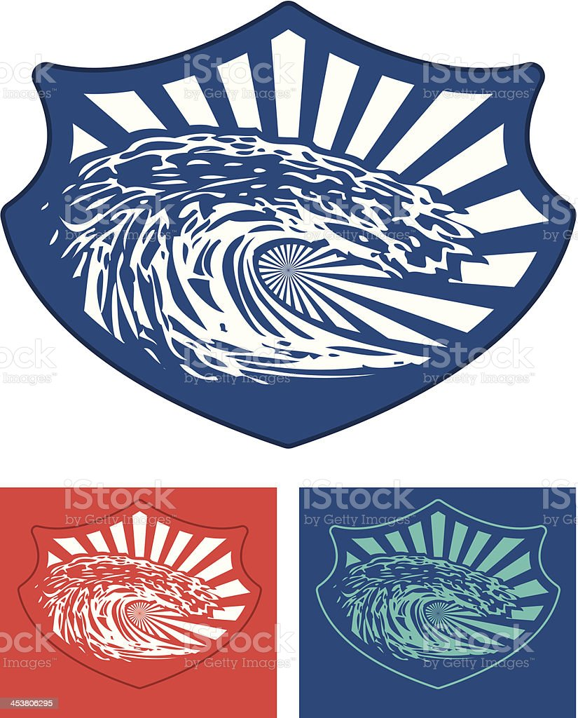 surf shield with big stencil wave royalty-free stock vector art