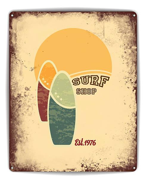 ilustrações de stock, clip art, desenhos animados e ícones de surf shop tin poster - viagens anos 70