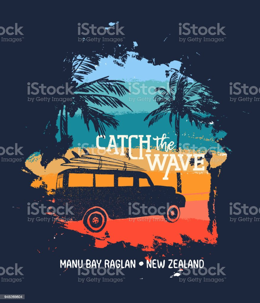 Surf summer holiday in new zealand beach with car vector art illustration