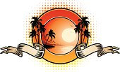 Tropical beach emblem with beautiful sunset with doubble ribbon and palm trees. File is layered and global colours are used for easily editing.