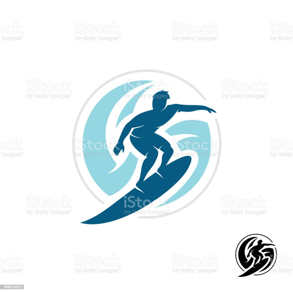 Surf symbol with man silhouette, board and sea waves water twirl i vector art illustration