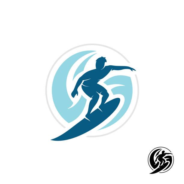 illustrazioni stock, clip art, cartoni animati e icone di tendenza di surf symbol with man silhouette, board and sea waves water twirl i - surf