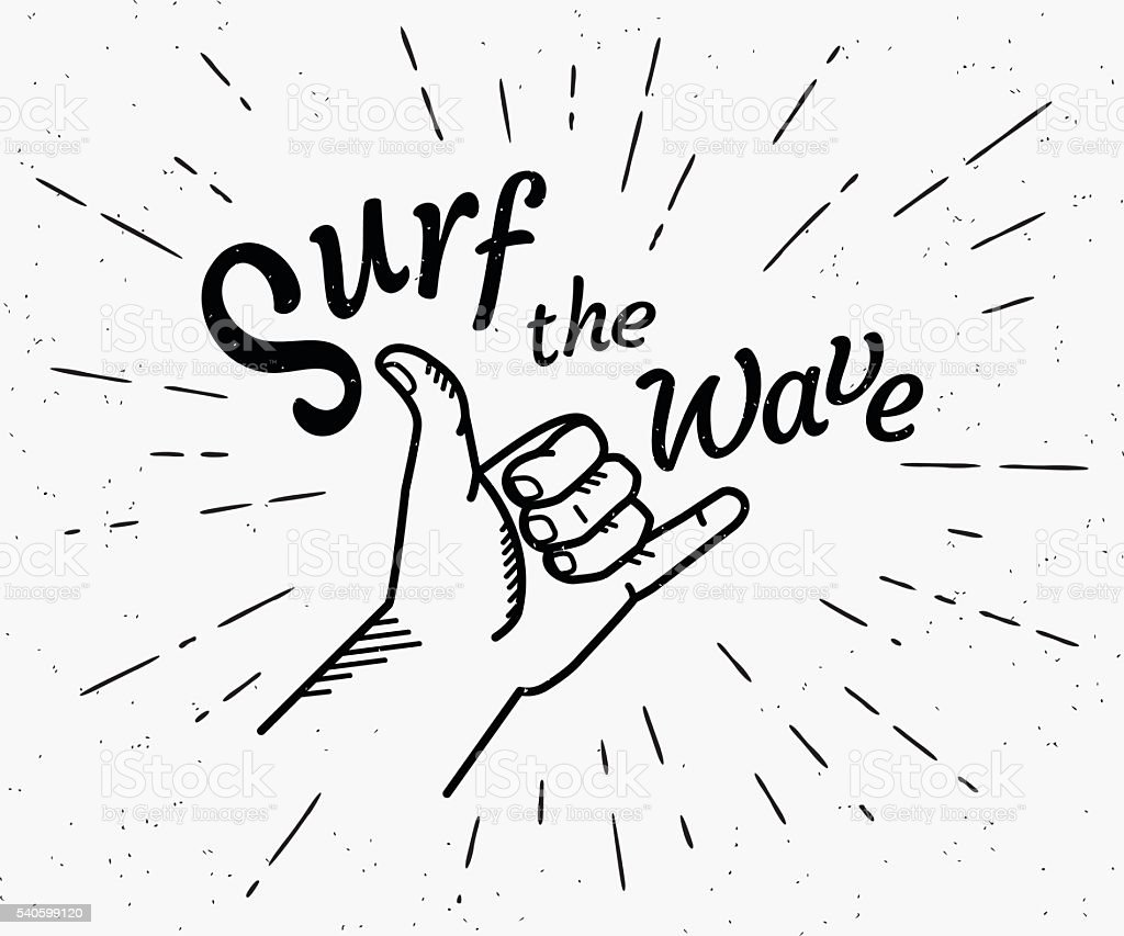 Surf the wave retro black and white illustration vector art illustration