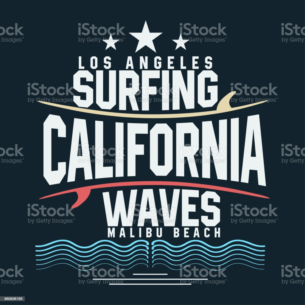 Surf t-shirt graphic design. Surfing grunge print stamp. California, Los Angeles surfers wear typography emblem vector art illustration