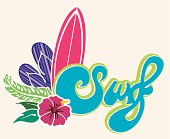 Surf type emblem with sandals, hibiscus and surfboard.