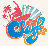 Surf type emblem with beach landscape at background, surfer, hibiscus and palmtrees.