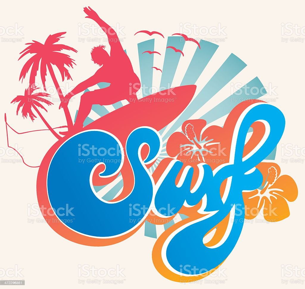 Surf type emblem vector art illustration