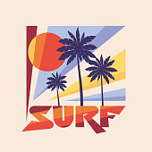 Surf - vector illustration concept in vintage graphic style for t-shirt and other print production. Palms, sun illustration. Badge design. 80's style vintage retro California beach.