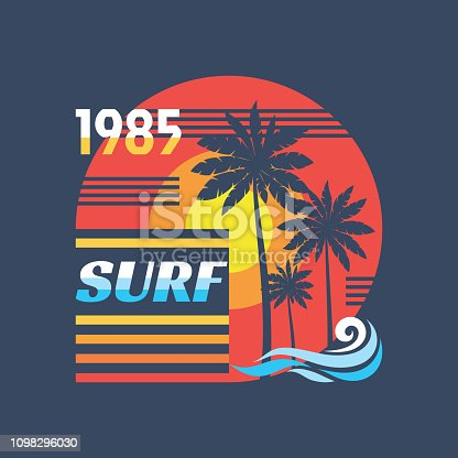 Surf - vector illustration concept in vintage graphic style for t-shirt and other print production. Palms, sun. Badge design. 80's style retro California beach.