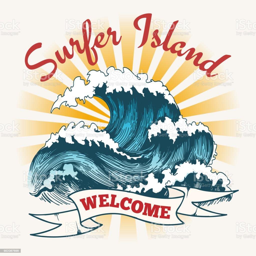 Surf Wave Vintage Poster Stock Illustration