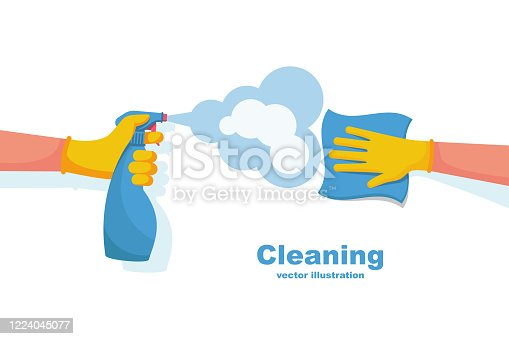 istock Surface cleaning in house. Cleaning with spray detergent. 1224045077