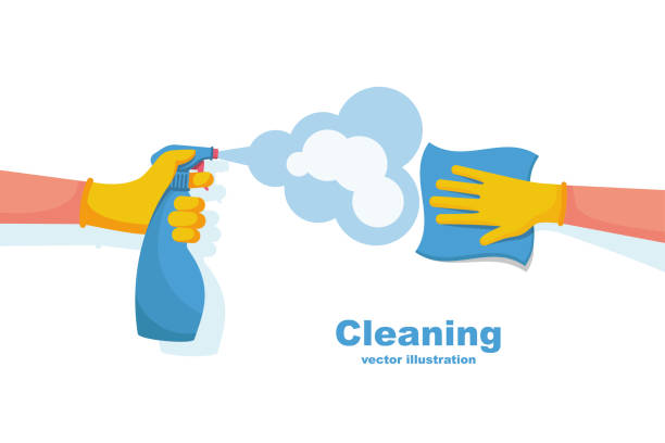 surface cleaning in house. cleaning with spray detergent. - ludzka kończyna stock illustrations
