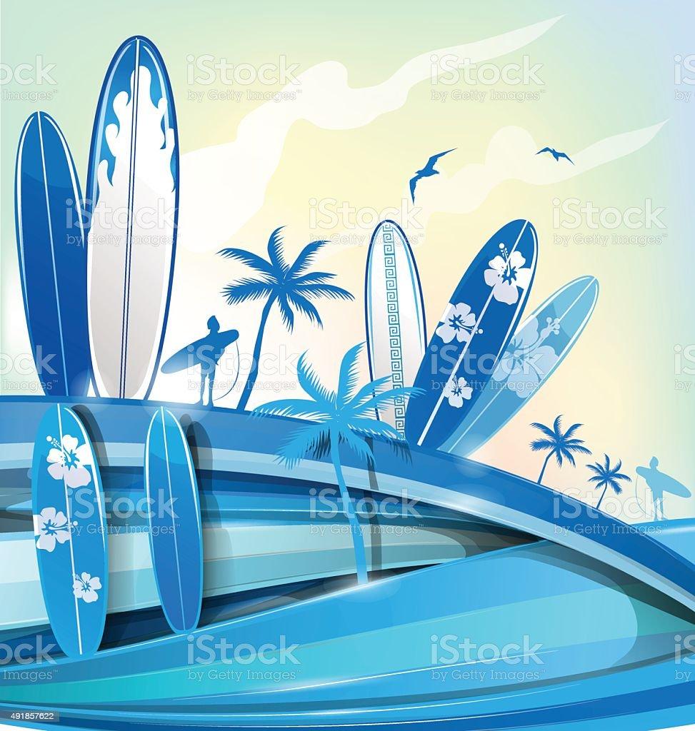 surfboard  background on sky background vector art illustration