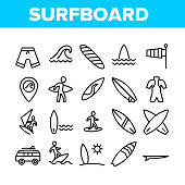 Surfboard Collection Elements Icons Set Vector Thin Line. Human Silhouette On Surfboard And Wave, Swimming Suit And Van, Gps Mark And Shorts Concept Linear Pictograms. Monochrome Contour Illustrations