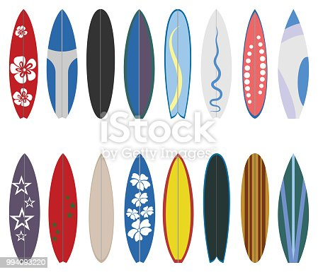 Surfboard set on white background.