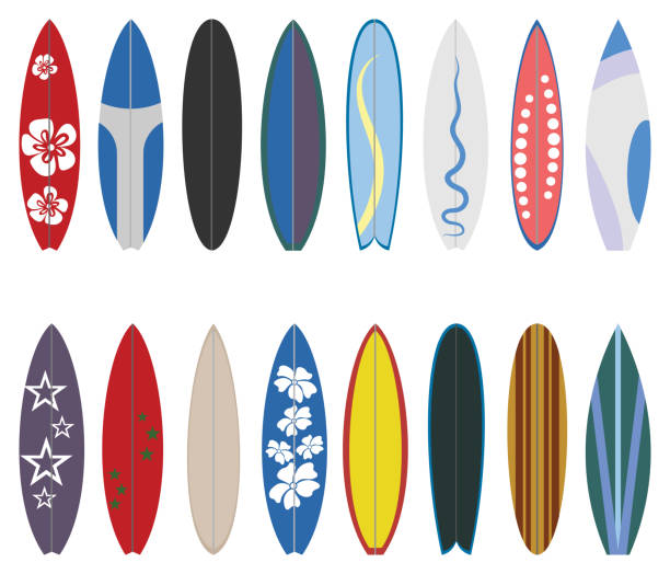 Surfboard collection. Flat design vector set. Surfboard set on white background. surf stock illustrations