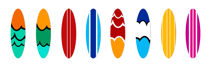 Surfboard collection on white background isolated vector illustrations. Summer design element. Flat style.