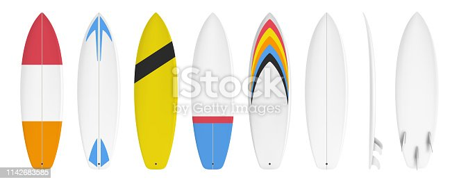Surfboard set custom design isolated on white background in vector format