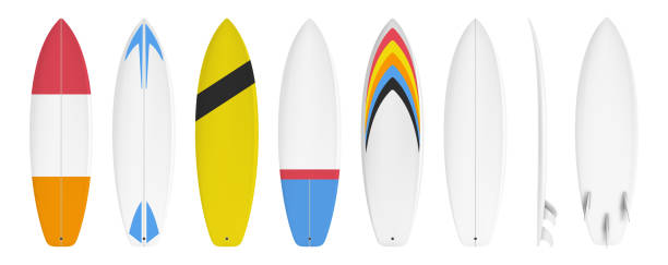 Surfboard custom design Surfboard set custom design isolated on white background in vector format surf stock illustrations