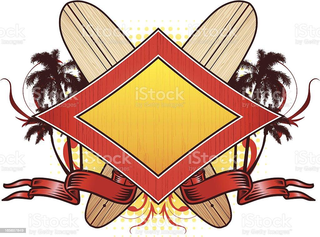 Surfboard emblem royalty-free stock vector art