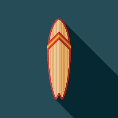 Surfboard Flat Design Summer Icon with Side Shadow