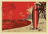 vintage hawaiian postacrd, with a surfboard in the beach