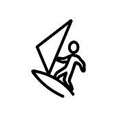 surfboard sea beach icon vector. Thin line sign. Isolated contour symbol illustration