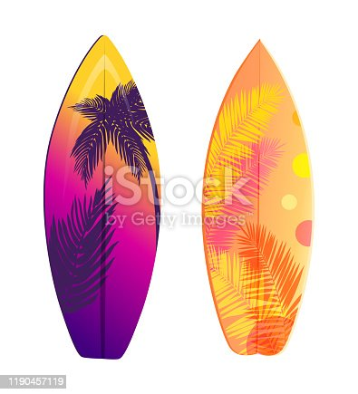 istock Surfboard Set Vector Banner, Summer Holiday Theme 1190457119