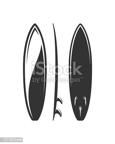 istock Surfboard silhouette isolated on white background 1277512449