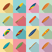 Surfboard surf board icons set, flat style