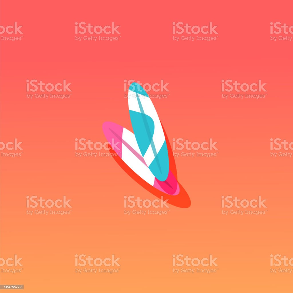 Surfboard vector flat material design object. royalty-free surfboard vector flat material design object stock vector art & more images of beach