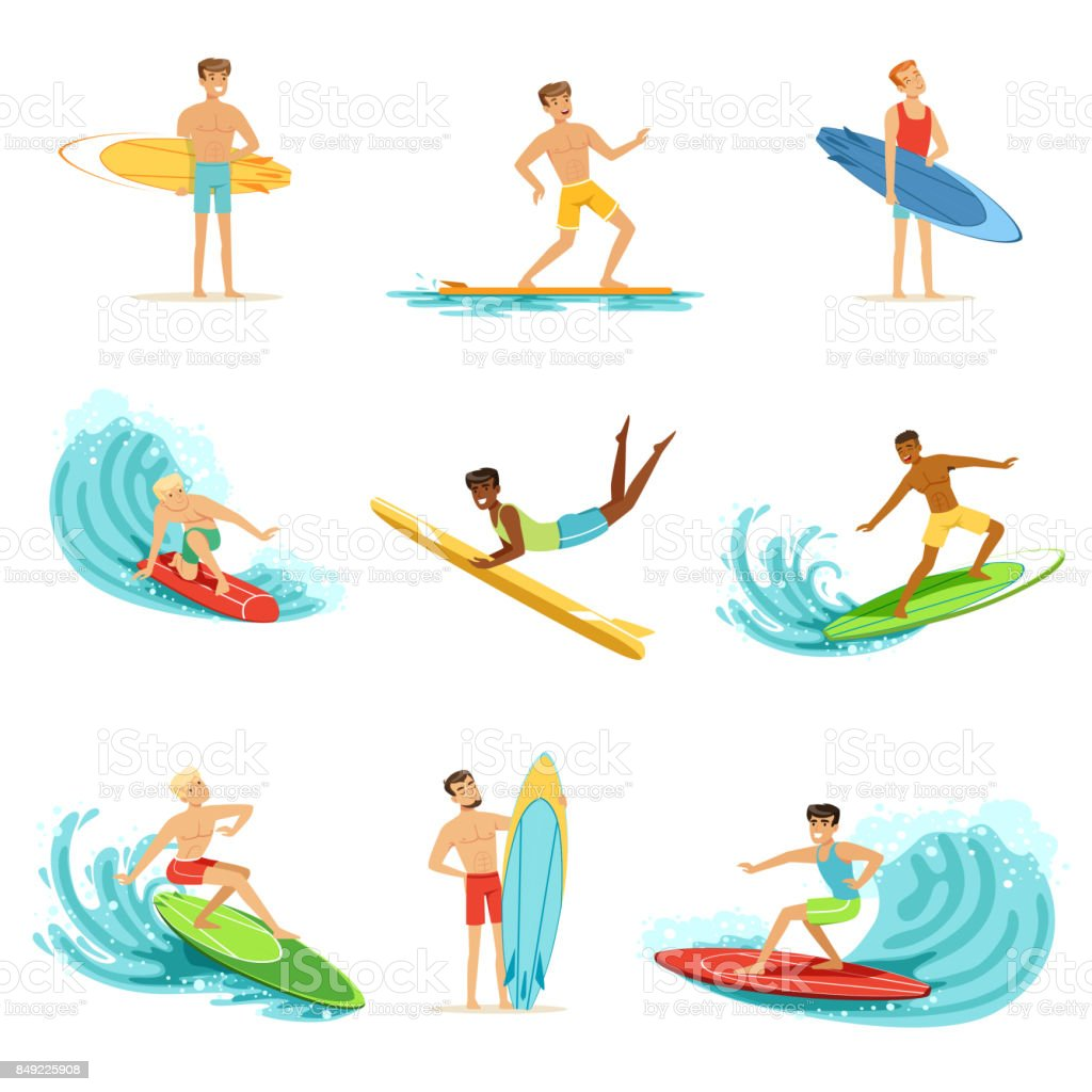 Surfboarders riding on waves set, surfer men with surfboards in different poses vector Illustrations vector art illustration