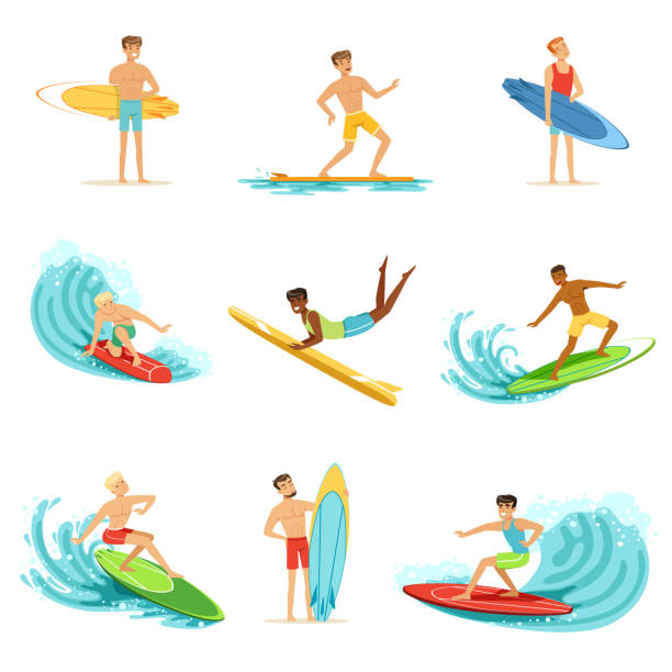 Surfboarders riding on waves set, surfer men with surfboards in different poses vector Illustrations Surfboarders riding on waves set, surfer men with surfboards in different poses vector Illustrations on a white background surf stock illustrations
