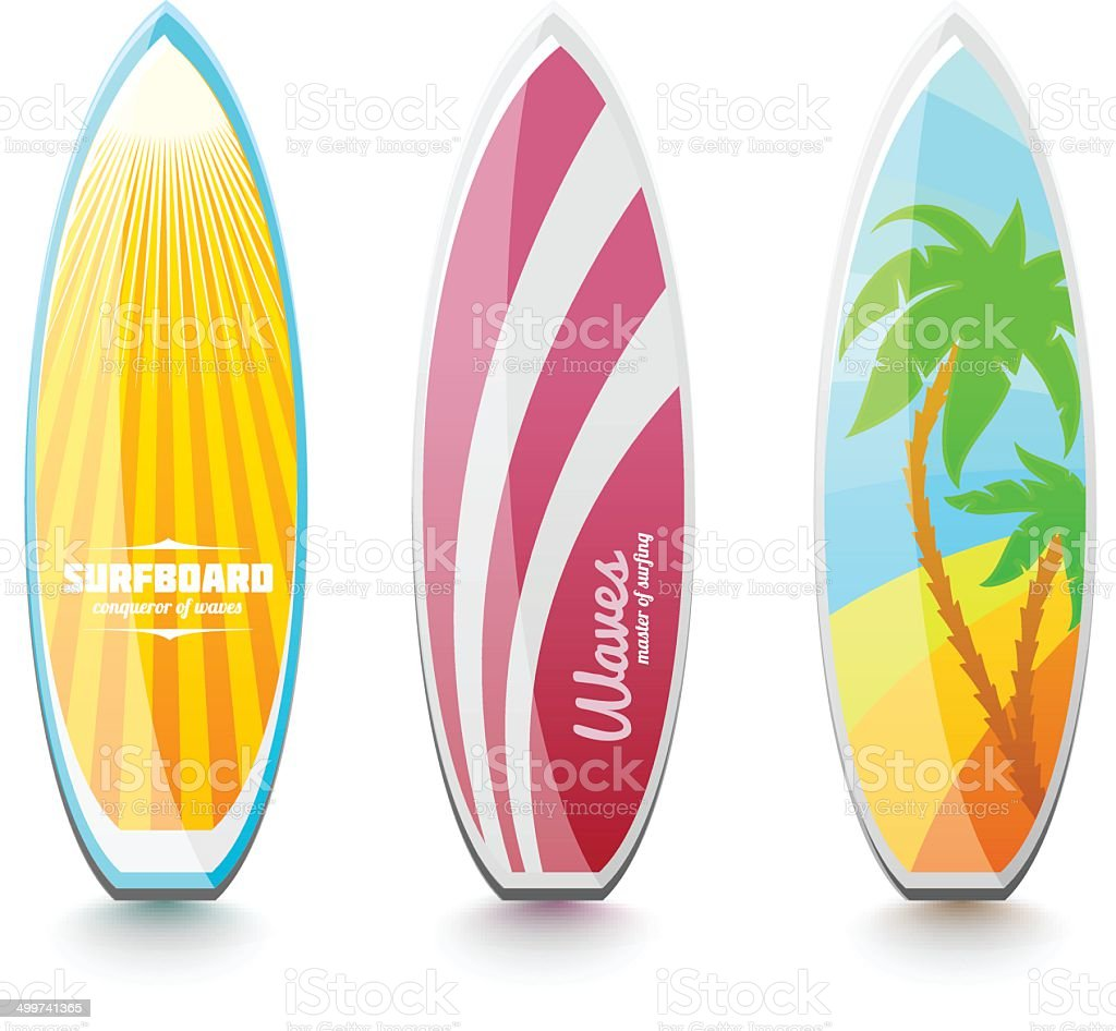 Surfboards for surfing royalty-free stock vector art