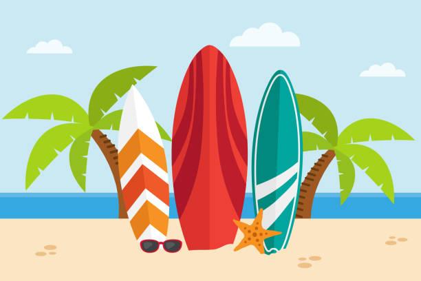 Tablas de surf en una playa - ilustración de arte vectorial