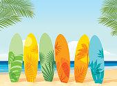 istock Surfboards on the beach 1253350208