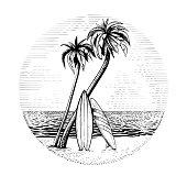 istock Surfboards under the palm trees, vector beach surfing round design. 1262318277