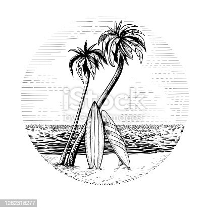 istock Surfboards under the palm trees, vector beach surfing round design. 1262318277