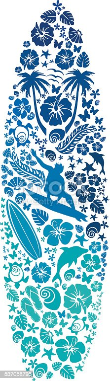 Composition with surf and beach elements in silhouettes,in the shape of a surfboard